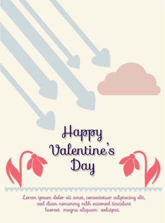 Happy  Valentine's Day Vector illustration with  flowers  and heart Vector Illustrations vector