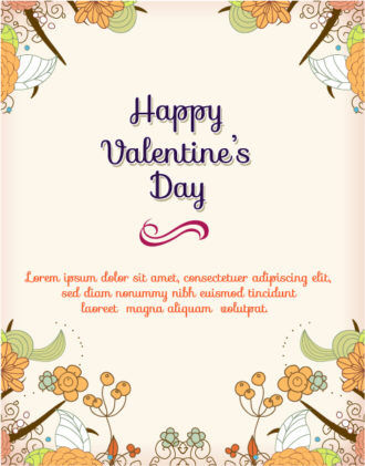 Happy  Valentine's Day Vector illustration with  flowers Vector Illustrations vector