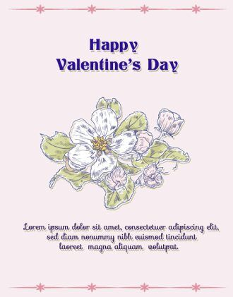 Happy  Valentine's Day Vector illustration with spring flowers Vector Illustrations vector