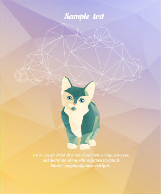 Vector Illustration with abstract background with cat Vector Illustrations vector