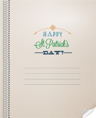 St. Patrick's day vector illustration with notebook Vector Illustrations vector