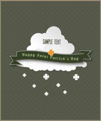 St. Patrick's day vector illustration with clouds and ribbon Vector Illustrations vector