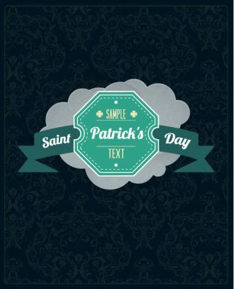 St. Patrick's day vector illustration with retro badge and clouds Vector Illustrations vector