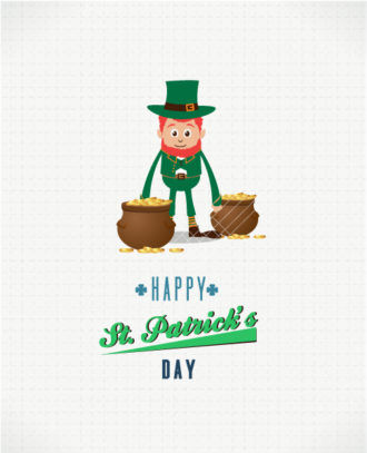 St. Patrick's day vector illustration with leprechaun and pot with coins Vector Illustrations vector