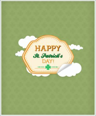 St. Patrick's day vector illustration with  sticker badge and clouds Vector Illustrations vector