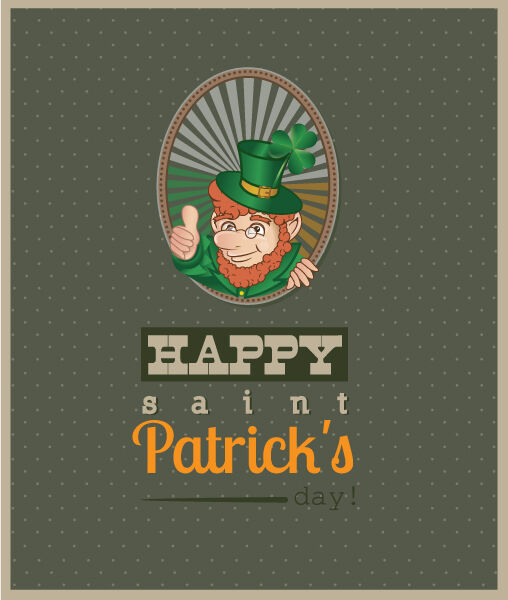 St. Patrick's day vector illustration with clover and leprechaun Vector Illustrations floral