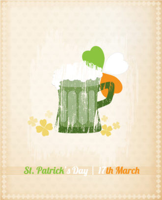 St. Patrick's day vector illustration with mug of beer Vector Illustrations floral