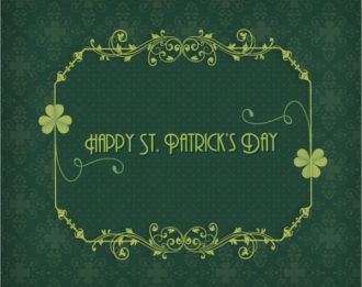 St. Patrick's day vector illustration with clover and floral frame Vector Illustrations floral