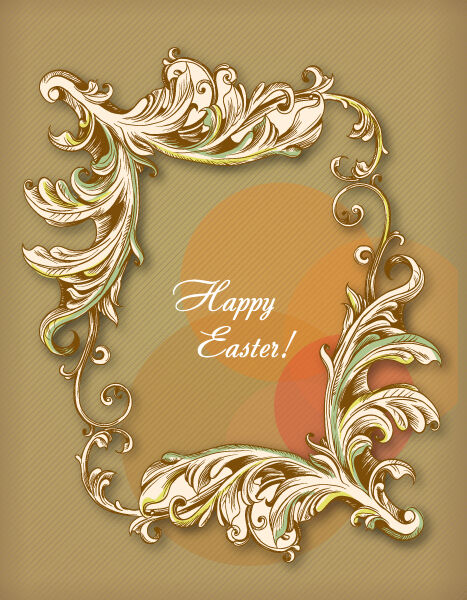 easter vector illustration with easter frame Vector Illustrations floral