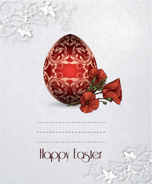 easter vector illustration with sticker easter egg Vector Illustrations floral