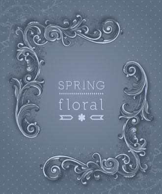 floral background vector illustration with spring flowers and frame Vector Illustrations floral