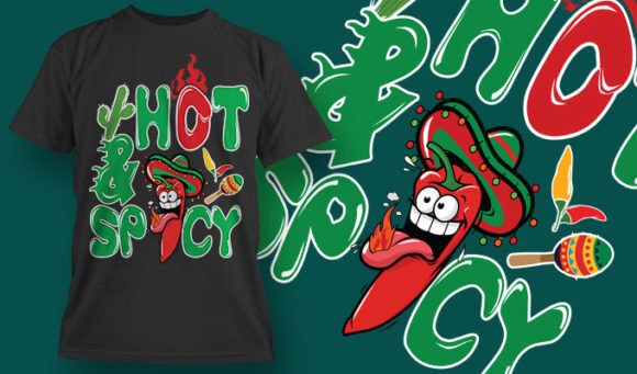 designious-tshirt-design-1518 T-shirt Designs and Templates t-shirt, vector, hot and spicy, peper, hot peper