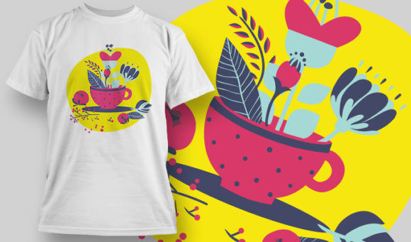 designious-tshirt-design-1450 T-shirt Designs and Templates t-shirt, vector, tea cup with leaves, pop culture collection