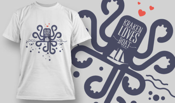 designious-tshirt-design-1454 T-shirt Designs and Templates t-shirt, vector, kraken, octopus, pop culture collection