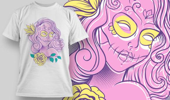 designious-tshirt-design-1468 T-shirt Designs and Templates t-shirt, vector, sub rosa, skull, sugar skull, lady