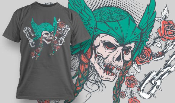 designious-tshirt-design-1477 T-shirt Designs and Templates t-shirt, vector, viking helmet skull, skull