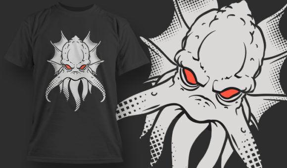 designious-tshirt-design-1478 T-shirt Designs and Templates t-shirt, vector, kraken, sea monster, red eyes