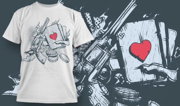 designious-tshirt-design-1480 T-shirt Designs and Templates t-shirt, vector, guns and cards, play hard, live dangerous