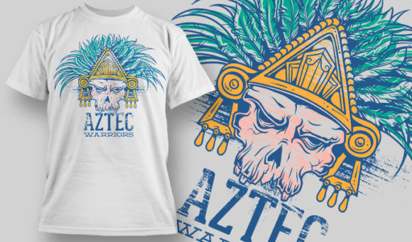 designious-tshirt-design-1484 T-shirt Designs and Templates t-shirt, vector, aztec, skull, warrior,