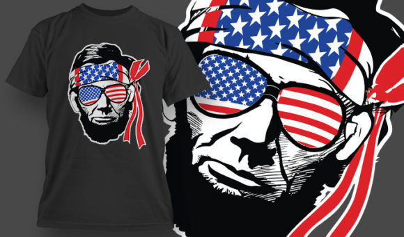 designious-tshirt-design-1514 T-shirt Designs and Templates t-shirt, vector, veteran, USA, Abe Lincoln, Abraham, 4th of July