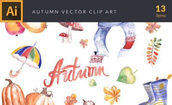 Watercolor Fall Elements Set 1 Vector packs vector