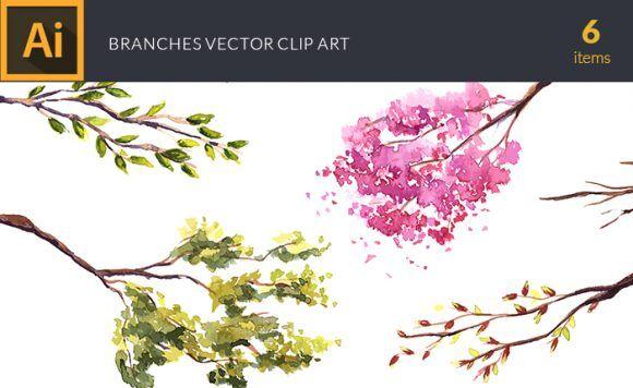 Watercolor Branches Vector Clipart Vector packs vector