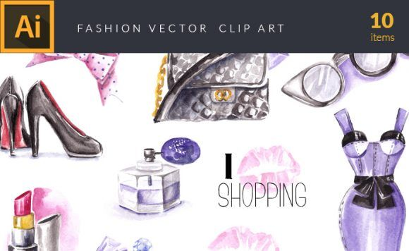 Watercolor Fashion Vector Clipart Vector packs vector