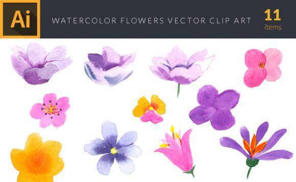 Watercolor Flowers Vector Set 3 Vector packs vector