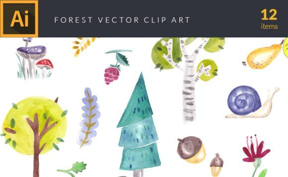 Watercolor Forest Vector Clipart Vector packs snail