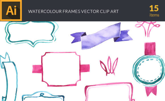 Watercolor Frames Vector Clipart Vector packs vector