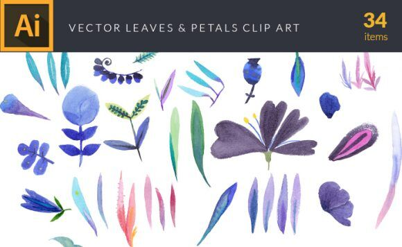 Watercolor Leaves & Petals Vector Clipart Vector packs vector