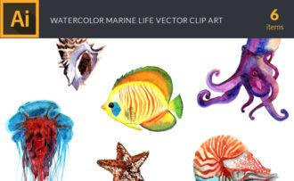 Watercolor Marine Life Vector Clipart Vector packs snail