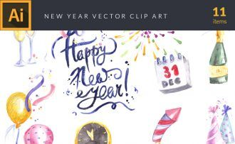 Watercolor New Year Vector Clipart Vector packs vector