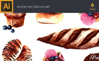 Watercolor Pastry Vector Clipart Vector packs vector