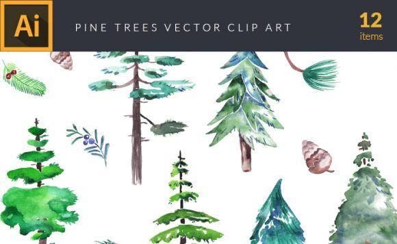 Watercolor Pine Trees Vector Clipart Vector packs vector