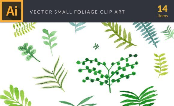 Watercolor Foliage Vector Clipart Vector packs vector