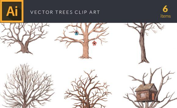 Watercolor Trees Vector Clipart Vector packs tree