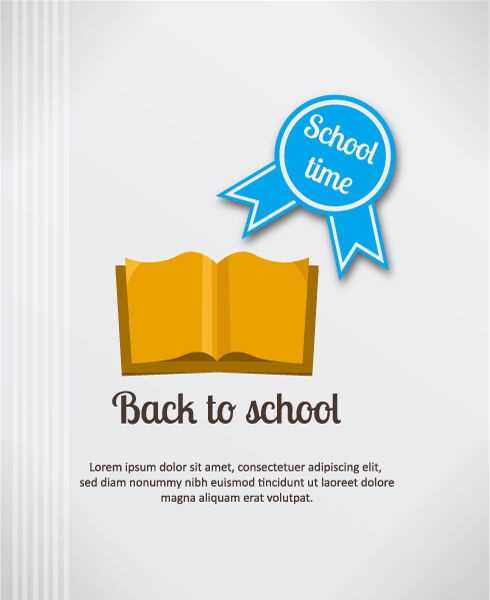 Back to school vector illustration with book and badge Vector Illustrations vector