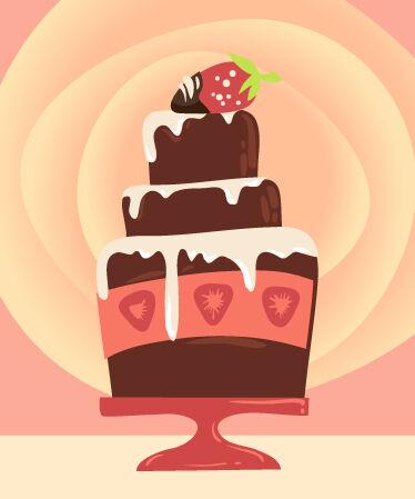 Illustrated flat vector Set Scenes cake