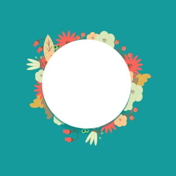 Illustrated flat vector Set Scenes floral