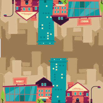 Illustrated flat vector Set Scenes building