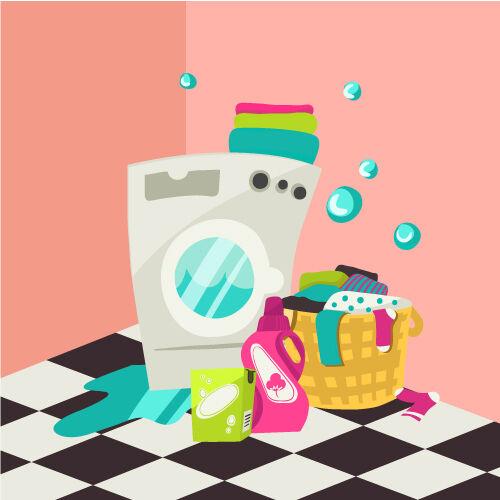 Illustrated flat vector Set Scenes washing machine