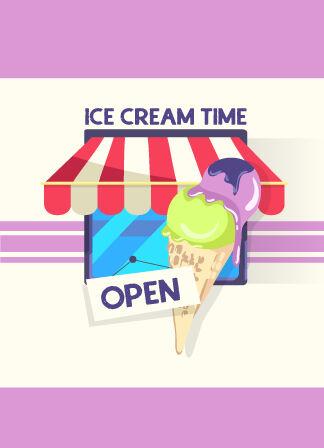 Illustrated flat vector Set Scenes ice cream