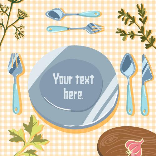 Illustrated flat vector Set Scenes food