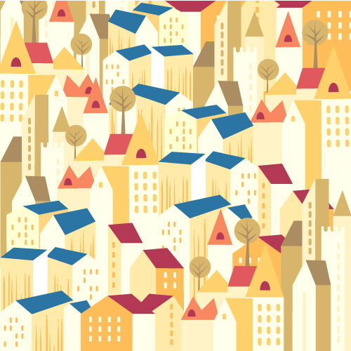 Illustrated flat vector Set Scenes pattern