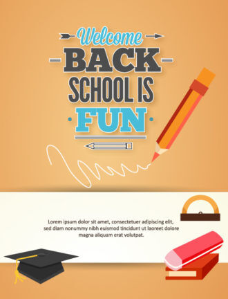Back to school vector illustration with graduation hat Vector Illustrations vector