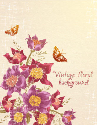 floral vector background with butterflie Vector Illustrations floral