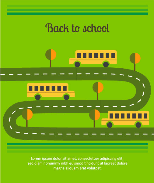 Back to school vector illustration with school bus Vector Illustrations tree