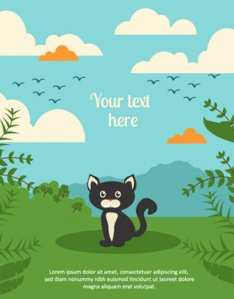 Vector background illustration with cat,leaves, and clouds Vector Illustrations urban