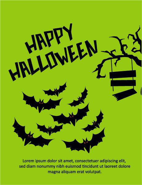 Halloween Vector illustration  with tree, bats Vector Illustrations tree